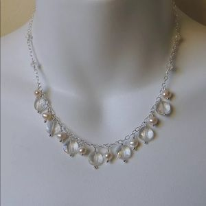 Pearl and Crystal handmade necklace